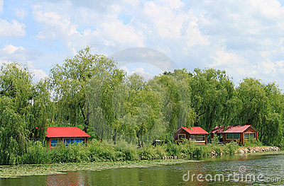 Bank of the river with red houses