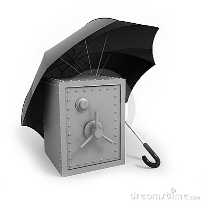 Bank safe under umbrella