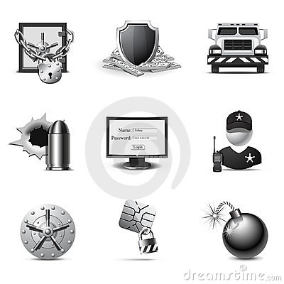 Bank Security Icons   B&W Series