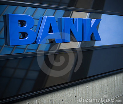 Bank sign on a facade
