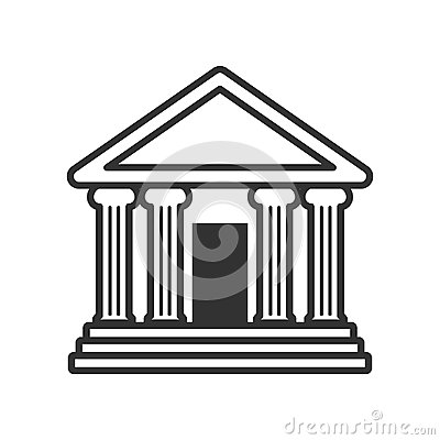 Bank or Temple with Columns Outline Icon Vector Illustration