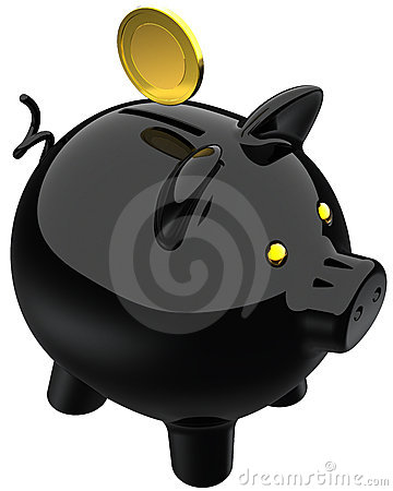 Banka czerń monety złoty prosiątko