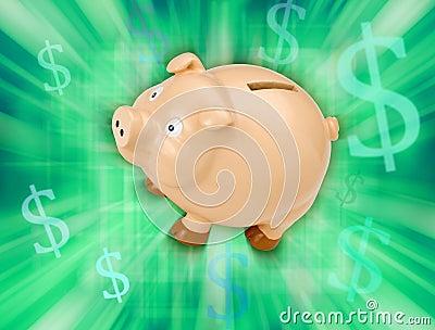 Banka pieniądze prosiątka oszczędzania