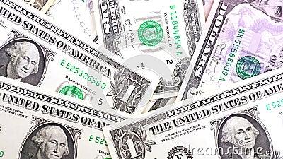 Bankbiljetten in benamingen van één tot tien dollarsclose-up van de V.S. stock videobeelden