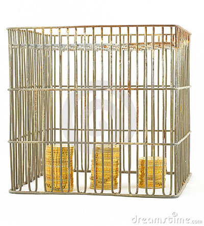 Free Banking - Coins In Cage On White 3 Royalty Free Stock Photos - 582558