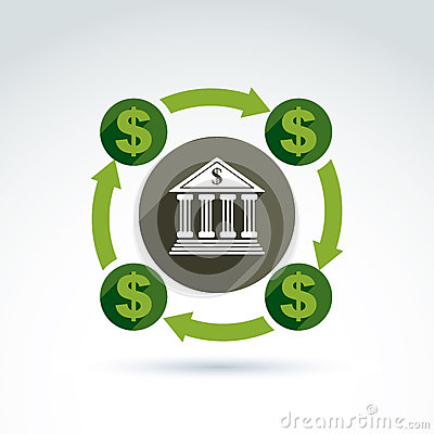 Banking credit and deposit money theme icon, vector conceptual s
