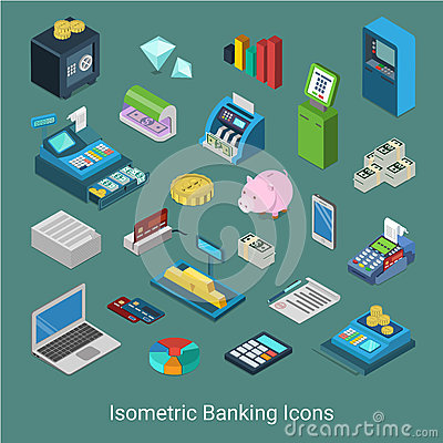 Free Banking Financial Icon Set Flat 3d Isometric Vector Money Bank Royalty Free Stock Photo - 66195855