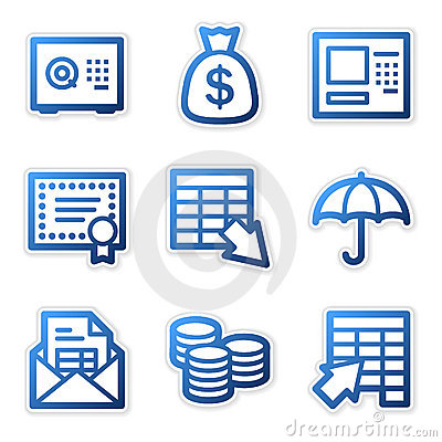 Free Banking Icons, Blue Contour Stock Images - 5132004