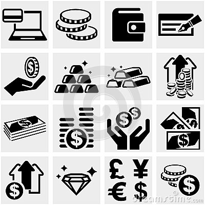 Banking, money and coin vector icons set.