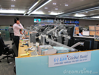 Banking transactions operator Editorial Photography