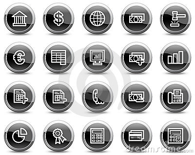 Banking web icons, black glossy circle buttons