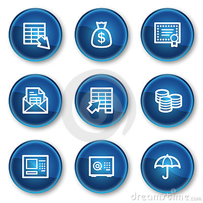 Banking web icons, blue circle buttons