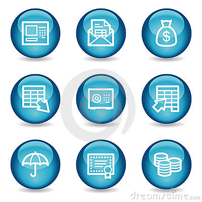 Banking web icons, blue glossy sphere series