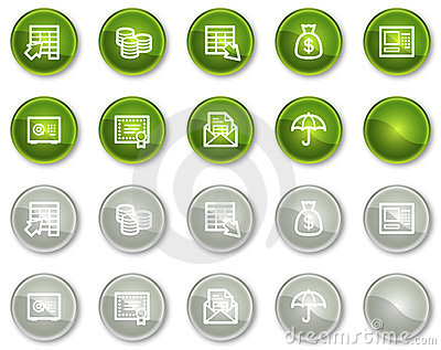 Banking web icons, green and grey circle buttons