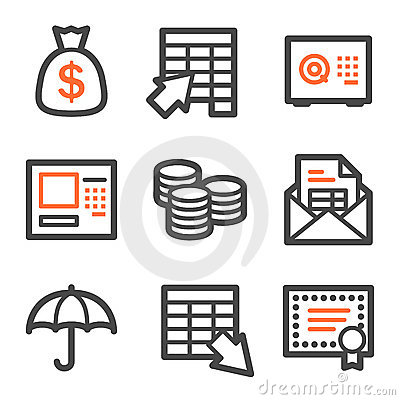 Banking web icons, orange and gray contour series