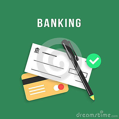 Free Banking With Charge Card And Bank Check Stock Photo - 69187350