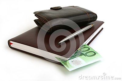 Banknote 100 euro, notebook, purse