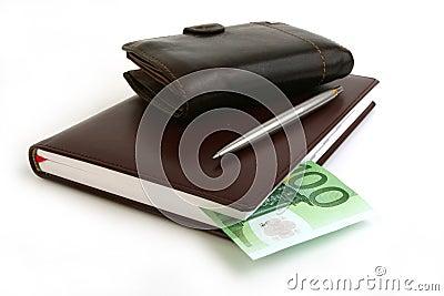Banknote 100 euro, notebook, purse