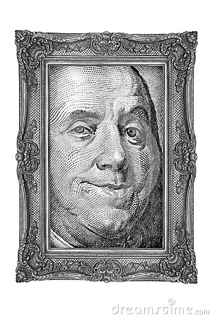 Banknote in gold frame