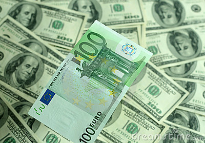 Banknote hundred euros closeup on a background of