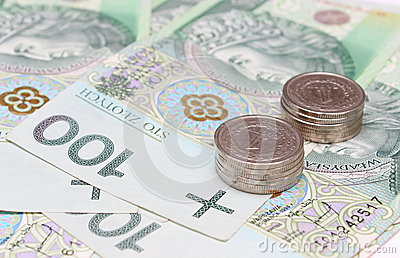 Banknote and stacks of coins