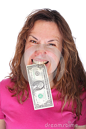 Banknote in woman mouth