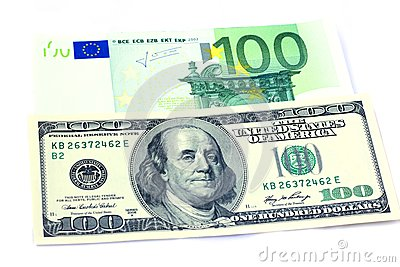 Banknotes of 100 dollars and 100 euro