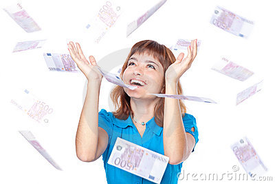 Banknotes of 500 euro are falling on girl