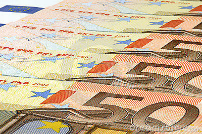 Banknotes of fifty euro.