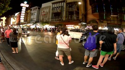 Bankok street timeleaps, nightlife of the city. stock video