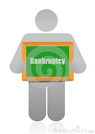 Bankruptcy sign and icon