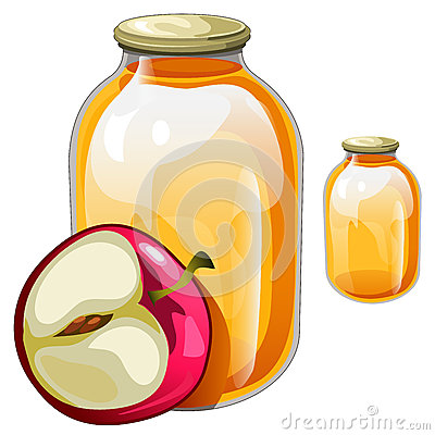 Free Banks With Delicious Juice Or Jam And Apple Stock Image - 75621471
