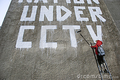 Banksy CCTV - Boy detail Editorial Stock Photo
