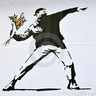 Banksy Piece of a Rioter Throwing a Flower Bouquet Editorial Photo