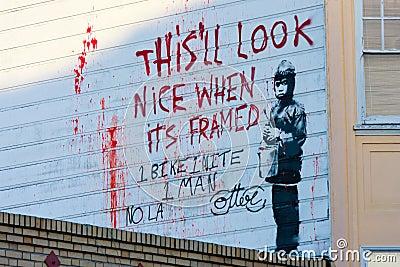 Banksy s graffiti Editorial Stock Image