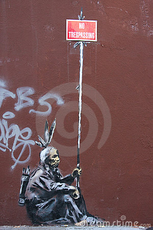 Banksy s graffiti Editorial Stock Photo