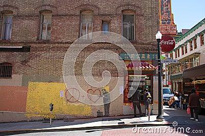 Banksy s graffiti Editorial Photography