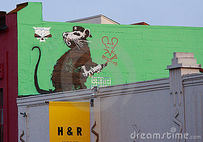 Banksy's Graffiti Royalty Free Stock Image - Image: 23163126