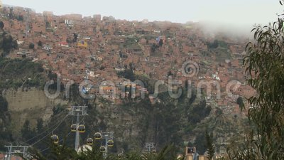 Banlieues avec la benne suspendue dans La Paz, Bolivie banque de vidéos