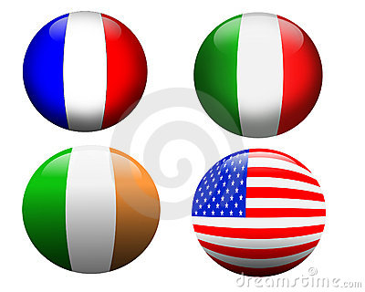 Banner buttons France, USA, Ireland, Italy,