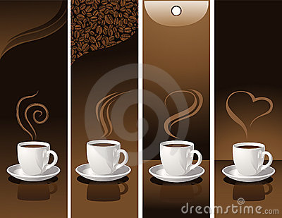 Banner with coffee cups