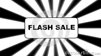Banner de Flash sale animado sobre fondo de explosión de sol en blanco y negro ilustración del vector
