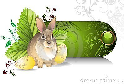 Banner with Easter rabbit