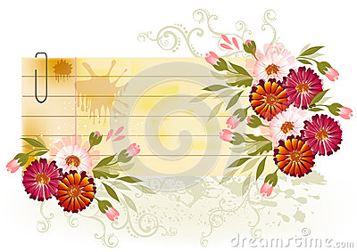 Banner with floral decor and place for your text