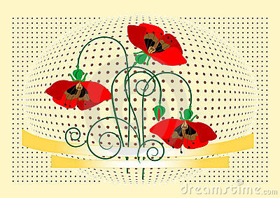 Banner with flover poppy. Background. Banner. Wall