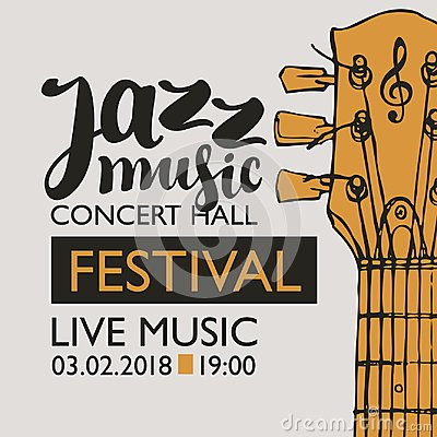 Free Banner For Festival Jazz Music With A Guitar Neck Royalty Free Stock Photography - 107794907