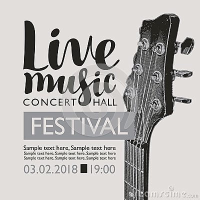 Free Banner For Festival Live Music With A Guitar Neck Stock Photos - 113230553