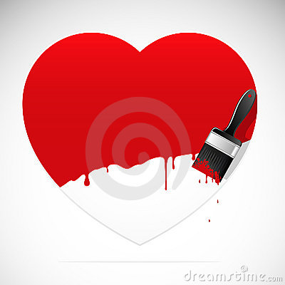 Banner in the form of heart with brush