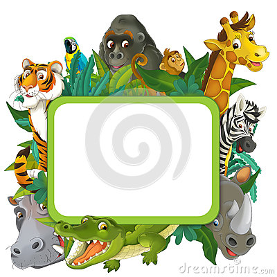 Banner - frame - border - jungle safari theme - illustration for the children