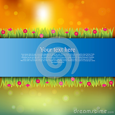 Banner with grass and flowers Vector Illustration